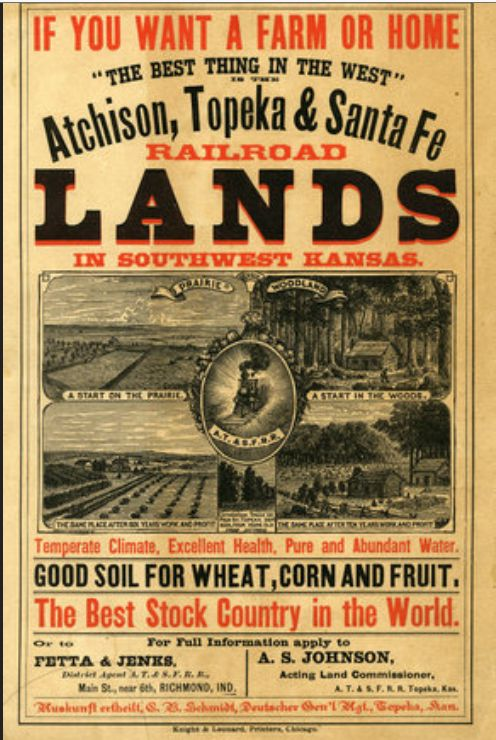 Railroad advertisement for land in Kansas